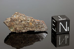 DAR AL GANI 734 -  Recuperata nel 1996/97, Dar Al Gani, Libia. Enstatite Chondrite EL4. Massa totale recuperata 1378 grammi. Pezzo in collezione: fetta gr.2.7 (McM061)